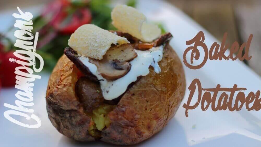 Champignon gefüllte Backkartoffel
