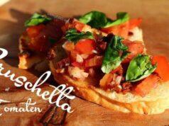 klassisches Bruschetta mit Tomate und Basilikum