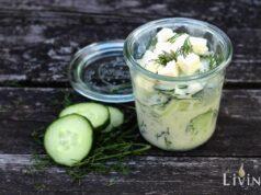 Rezept Gurkensalat mit Sahne Feta und Dill im Weckglas