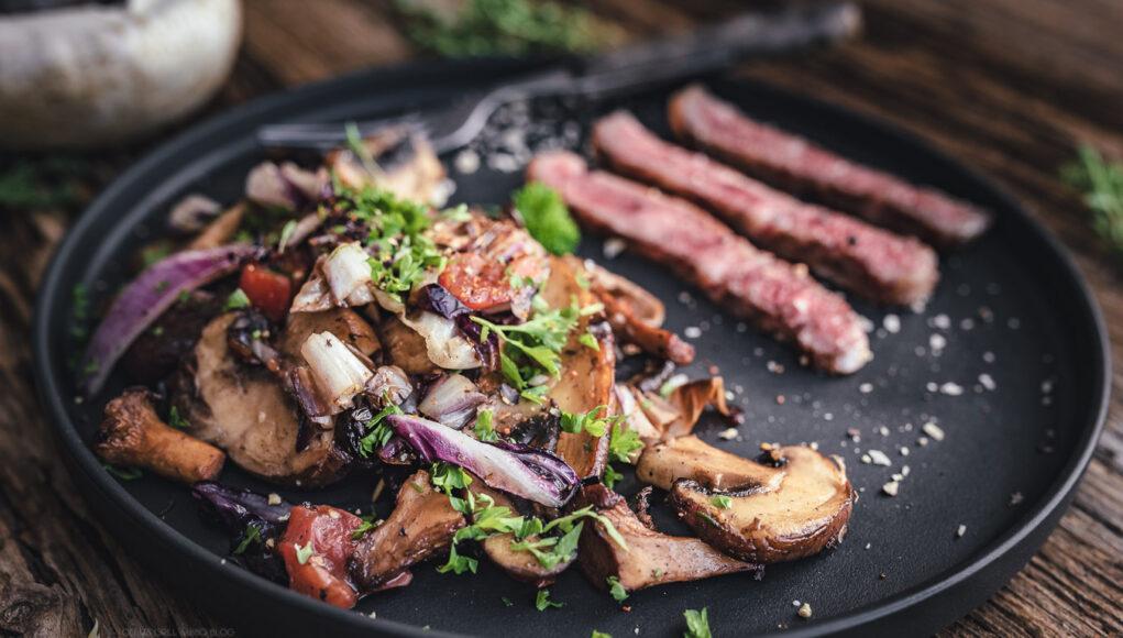 Pilzpfanne Rezept mit Wagyu Steak