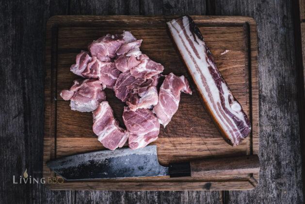 Schweinenacken und Speck für Schaschlik