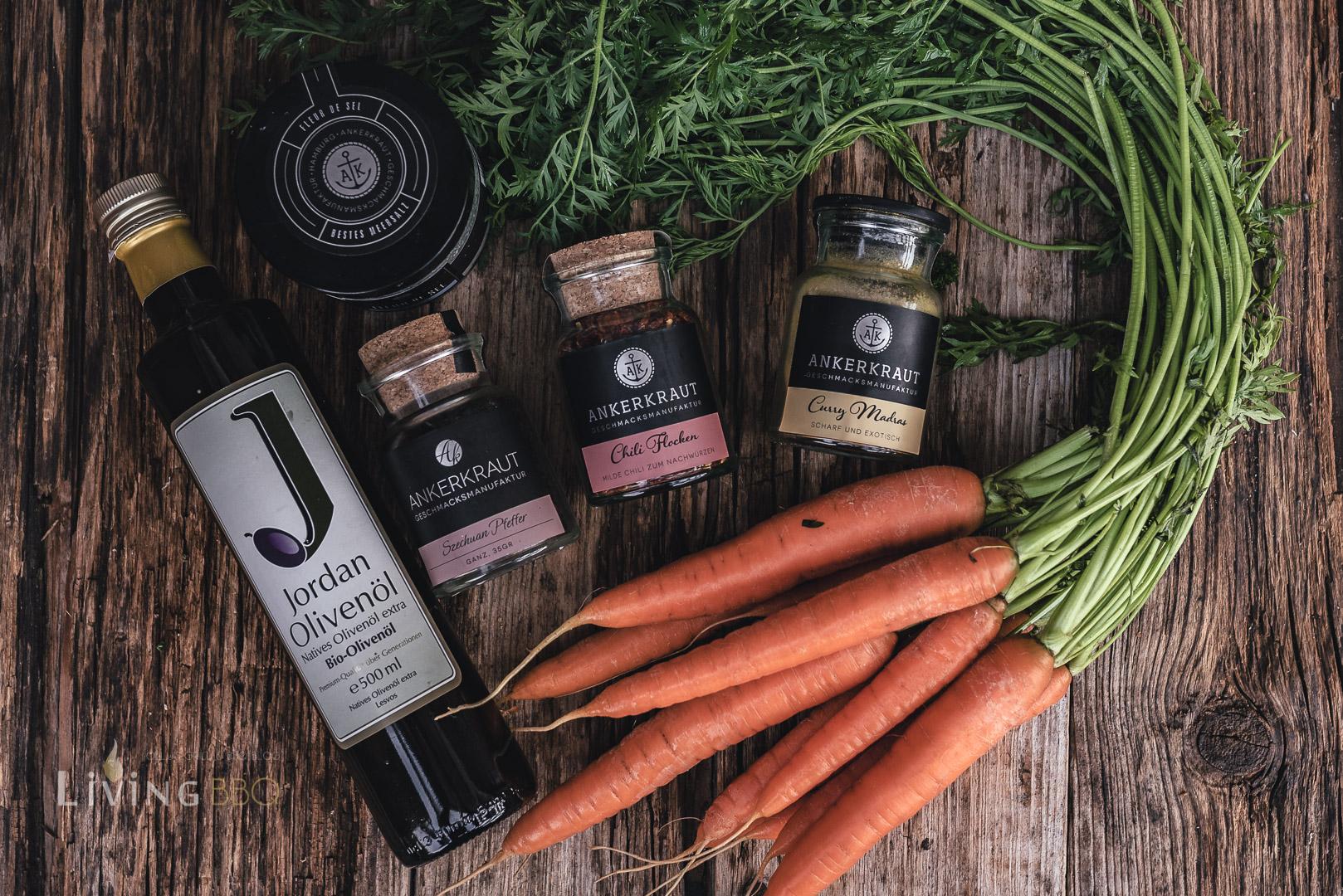 Zutaten karamellisierte Karotten