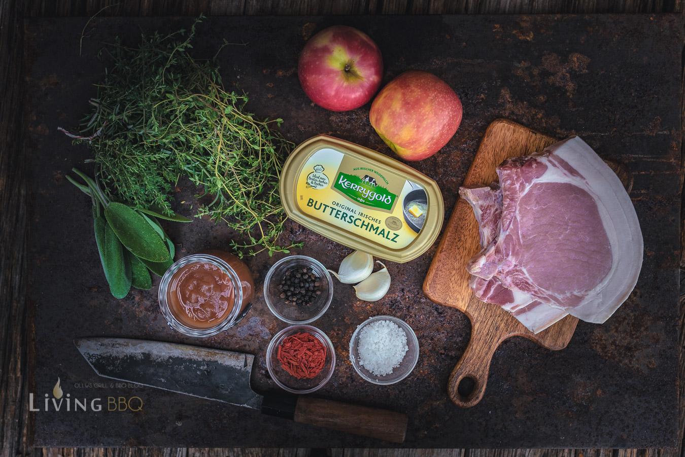 Zutaten Schweinekotelett mit Apfelbutter
